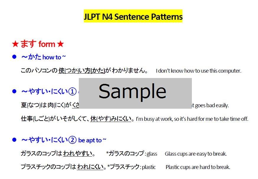 JLPT N4 Kanji and Grammar list - JOI Learn Japanese Online